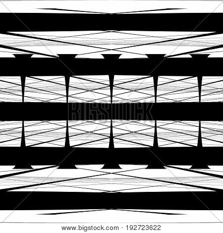 Irregular Pattern Of Symmetric Objects Interconnected Abstract Geometric Illustration