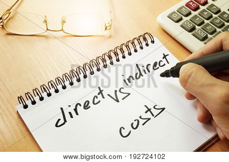 Direct vs indirect costs written by hand in a note.