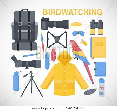 Birdwatching flat vector icons set big set of flat design birding travel hobby and adventure objects isolated on the white background vector illustration