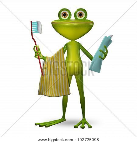 3d Illustration Frog with Toothpaste ready to Clean Teeth