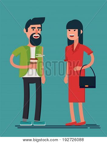 Man and woman smiling. Bearded guy with coffee and lady in red dress met in the street and having a nice talk. Geometric people. Simple design. Stock vector.
