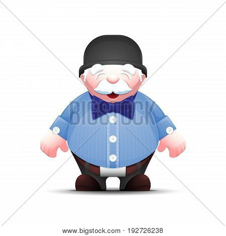 Elegant cartoon old man in bowler hat and with bow tie. Elderly businessman isolated on white. Positive senior male in business suit. Vector illustration.