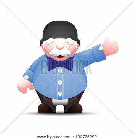 Positive senior man points hand to the side. Old businessman stands and points to something. Elegant cartoon gentleman in bowler hat and bow tie. Vector illustration isolated on white.