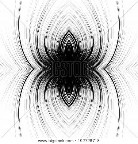 Mirrored Symmetric Abstract Monochrome Pattern, Texture With Spiral, Swirls. Abstract Pattern In Squ