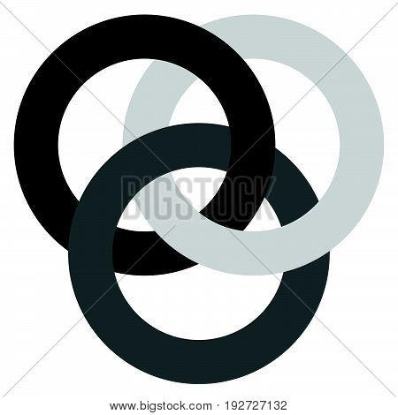 Icon With 3 Interlocking Circles. Rings. Abstract Symbol For Connection, Unity, Relation, Linkage Or