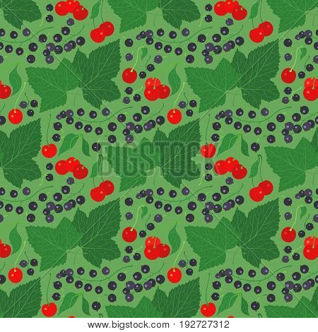 Seamless pattern with currant and cherry. Can be used for graphic design, textile design or web design.
