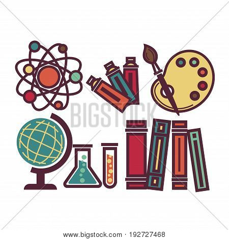 School items and equipments collection in colors vector poster in graphic design. Poster of tools for painting, atom structure and test tubes for studying chemistry, geography globe and many books