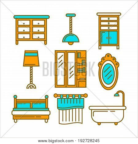 Furniture pieces collection in graphic design isolated on white. Vector poster of hanging and standing lamps, double bed, wardrobe with full length mirror, bath tub, chest of drawers and curtains