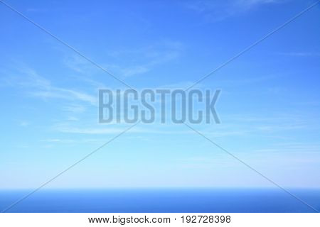 Mediterranean sea - beautiful seascape sea horizon and blue sky, natural photo background