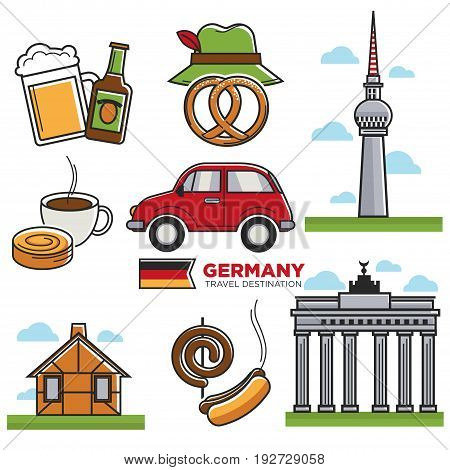 German traditional symbols colorful vector collection isolated on white. Vector poster in flat design of national architectural sightseeings, tasty food and beer beverage, transportation mean