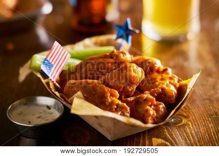 buffalo chicken wings with patriotic 4th of july theme and american flag