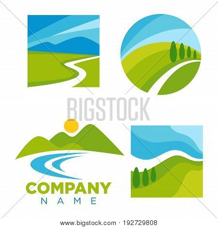 Company logotype with cartoon landscape isolated vector illustrations set. Blue sky, narrow path, green hills, small sun, wide field, river stream and cone tries in round, square or without frame.