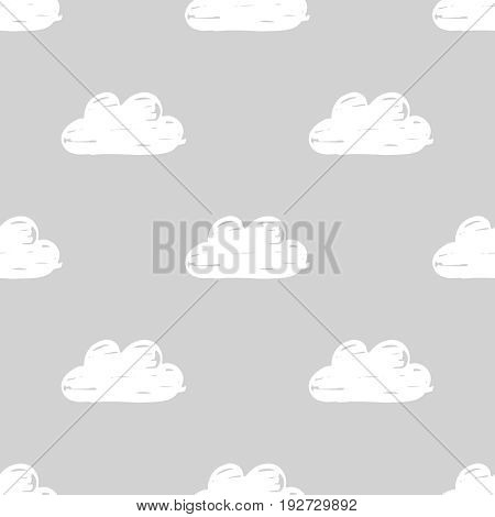 Vector seamless monochrome pattern with hand drawn clouds on a gray background