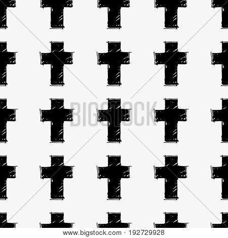 Vector seamless pattern with hand drawn black crosses on a light coloured background. Monochrome hipster hand drawn print.