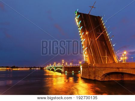 Trinity bridge in Saint Petersburg (Russia) drawn at night