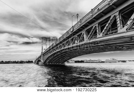 Saint Petersburg/Russia - June 8 2017: View of Trinity Bridge and Neva river in black and white tones