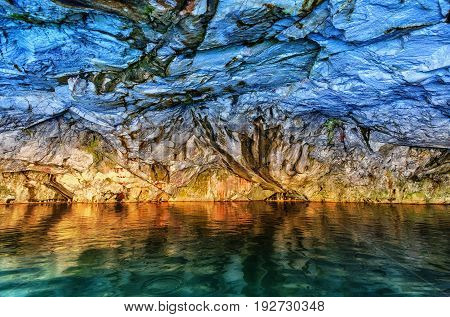 Grotto in marble quarry in Ruskeala Park in Republic of Karelia (Russia)