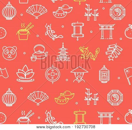 Symbol of China Pattern Background on a Red National Chinese Asian Tourism. Vector illustration