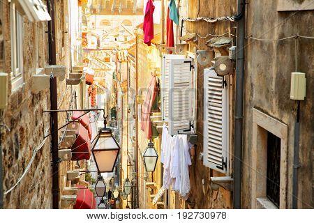 Old narrow street in Dubrovnik, Croatia