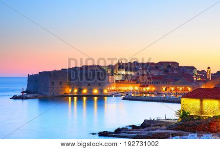 Old town of Dubrovnik at sundown, Croatia