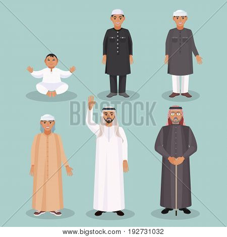 Arabic men generations from kid to old person in traditional ethnic clothing for all ages and social statuses isolated vector illustrations set.