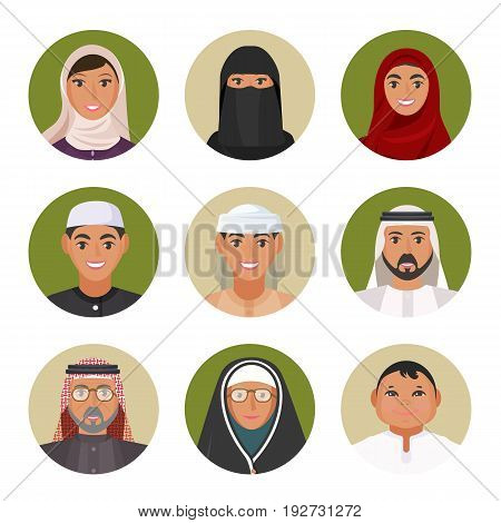 Arabic men and women of all ages in traditional clothing portraits in circles isolated vector illustrations set on white background.