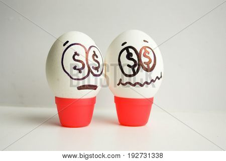 Concept Of Business. Fear Of A Startup. Eggs With