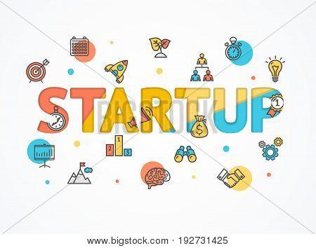 Success Start Up Concept Paper Art Trendy Style Technology Business Development Strategy . Vector illustration