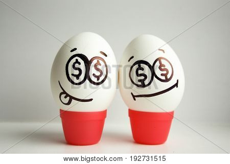 Concept Of Business Association. Eggs With Painted