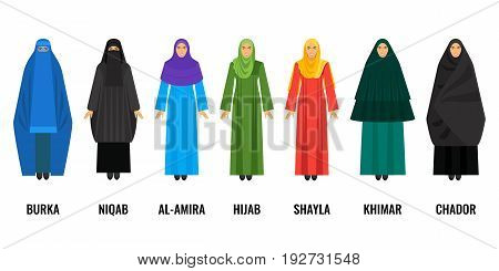 Traditional Arabic women clothing. Blue burqa, black niqab, purple al-amira, green huab, yellow shayla, emerald khimar and dark chador vector illustration