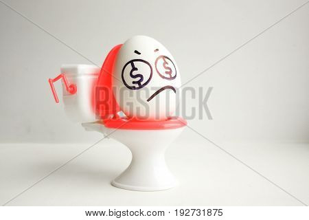 Concept Of Business Unprofitable. An Egg