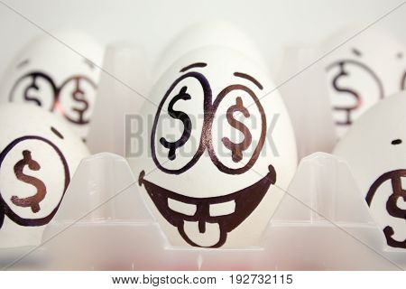 Concept Of Business And Businessman. An Egg