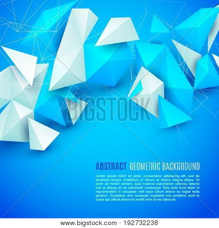 Abstract polygon 3d shapes and mesh grid on bright blue background