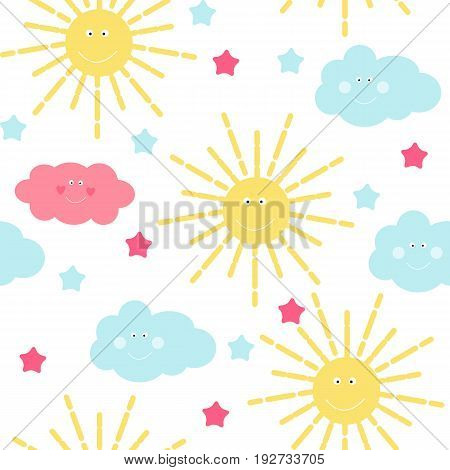 Children's Seamless Pattern Background with Sun, Cloud and Stars Vector Illustration EPS10