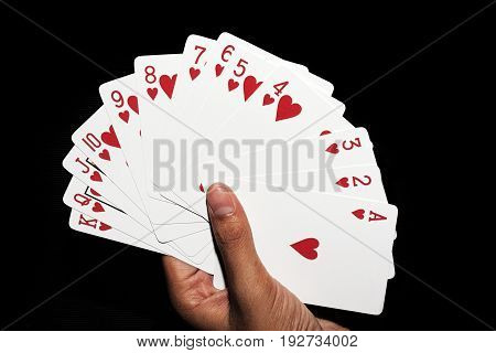 cards game hand hearts full hand  poker game play