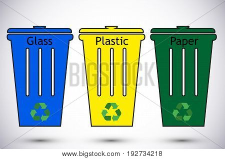 Different colored recycle waste bins vector illustration Waste types segregation recycling vector illustration. Plastic paper glass.