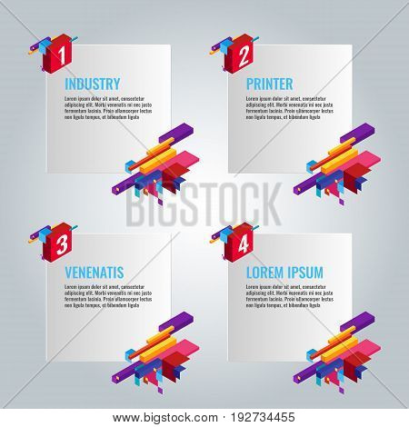 Four infographic papers with written text information and titles near some colorful constructions showing business ideas vector poster
