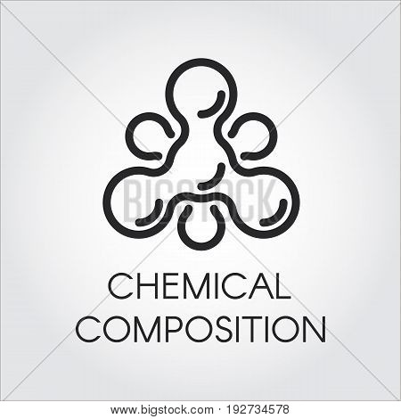 Chemical molecular icon in linear style. Atom structure contour logo. Black simplicity vector pictogram for your projects. Web label