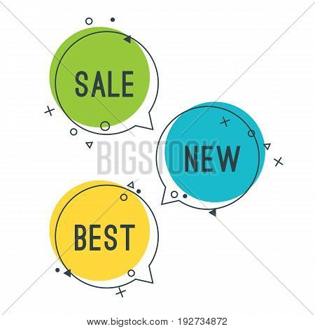 Simple best new sale speech bubbles with geometric signs vector illustration isolated on white background. Promotional selling tags