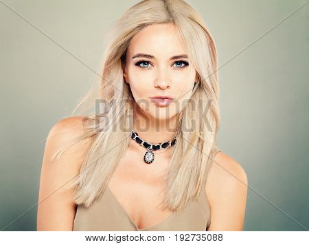 Beautiful Blonde Woman Fashion Model with Makeup and Blonde Hair Natural Beauty