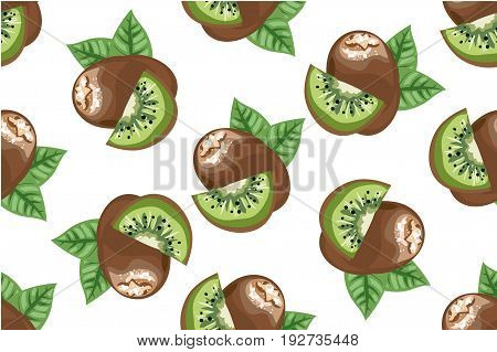 Kiwi seamless pattern isolated on white vector art for stock