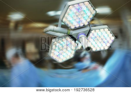 Operating room light on the blurred background.