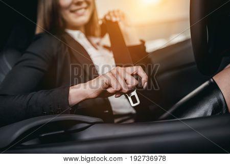 Businesswoman At Car Dealership