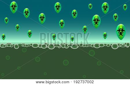 Ecology and environmental pollution concept. Danger biohazard area. Microbes and viruses are emerging. Biological hazard sign. Vector illustration