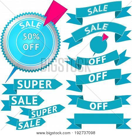 Set of badge and ribbon banners with text about sale discount. The inscriptions are cut in the ribbons. Vector illustration