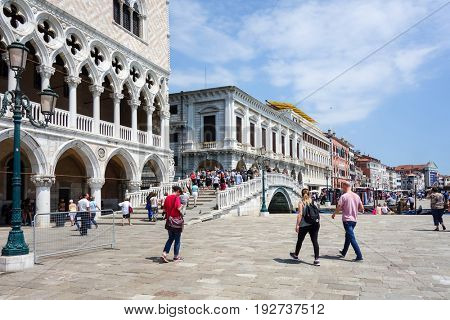 VENICE, ITALY - May 18, 2017. St Mark's Campanile in Venice on May 18, 2017. its entirety is listed as a World Heritage Site, along with its lagoon
