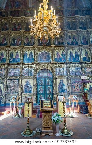UGLICH RUSSIA - JUNE 17 2017: Interior of the Savior's Transfiguration Cathedral. The architectural monument was founded in 1710