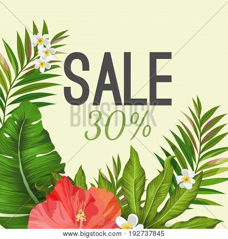 Sale poster on background with tropical pink Hibiscus and white Plumeria flowers on green palm tree leaves vector illustration