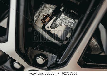 Closeup of car brake shoe. Brakes, wheel