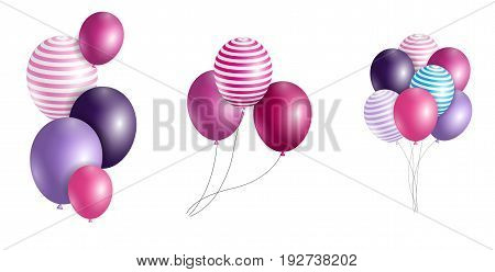 Group of Colour Glossy Helium Balloons Isolated on Background. Set of  Balloons and Flags for Birthday, Anniversary, Celebration  Party Decorations. Vector Illustration EPS10